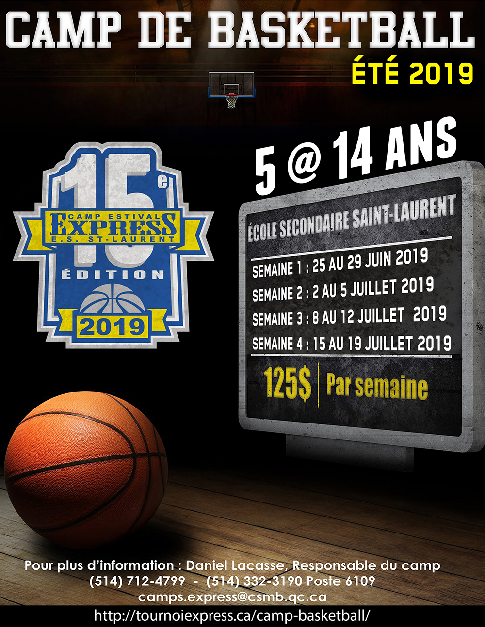 Affiche promo camp de basketball